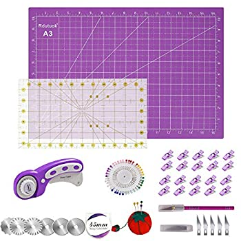 Rdutuok 45mm Rotary Cutter Set Quilting Kit 6 Replacement Blades A3 Cutting Mat 18X12   Acrylic Ruler,Sewing Pins,Cushion,Craft Knife Set and Craft Clips - Ideal for Sewing,Crafting Purple