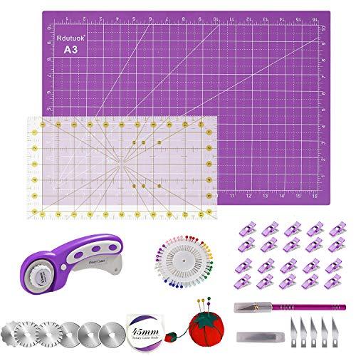 Rdutuok 45mm Rotary Cutter Set Quilting Kit, 6 Replacement Blades, A3 Cutting Mat(18X12