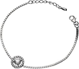 CLARA Made with Swarovski Zirconia 925 Sterling Silver Round Solitaire Bracelet Gift for Women and Girls