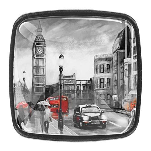 (4 piezas) pomos de cajón para cajones con tiradores de cristal para gabinete de casa, oficina, armario, Londres, Big Ben