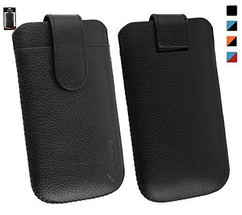 Emartbuy® Echtes Kalbsleder Schwarz Slide in Hülle Tasche Sleeve(Größe 3XL) mit Kreditkarte Schlitz und Zuglasche Mechanismus Geeignet Für Slok D1 Dual SIM Smartphone