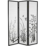 Legacy Decor Black 3 Panel Bamboo Floral Room Divider Screen