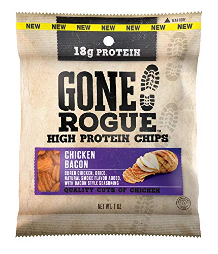 Gone Rogue High Protein Chicken Bacon Chips, Low Carb, Gluten Free, Keto Friendly Snacks, 8 pack