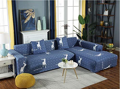 ARTEZXX Funda elástica para sofá de 1/2/3/4 plazas Azul Cubierta Antideslizante en Tejido elástico Extensible Protector de sofáMinimalista Moderno Todo Incluido 2 plazas: 145-185 cm