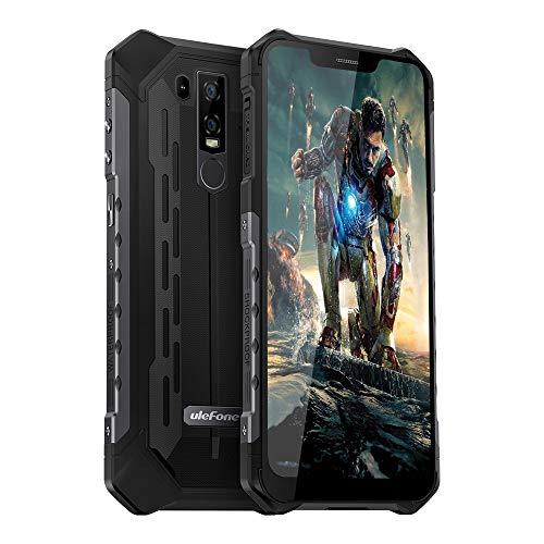 Ulefone Rugged Cell Phone Unlocked , Ulefone Armor 6E Waterproof Rugged Phones Dual Sim 4G 6.2' FHD Android 9.0 Helio P70,4GB+64GB,NFC+ Face ID+ UV Senso+GPS+Wireless Charge Black