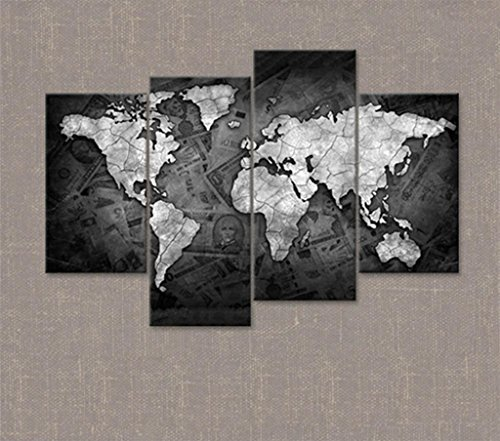 Marcus R Caveggf Leinwandbilder Einer Weltkarte in Braun und Tan für Ihr Schlafzimmer - Große Vintage Wandkunst - 4205 - GZD (58.67 * 34.15in)
