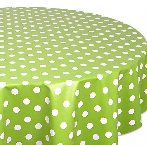 Wachstuchtischdecke OVAL RUND ECKIG Farbe u. Größe wählbar, Tischdecke Wachstuch abwischbar, Punkte (Grün Rund 140 cm)