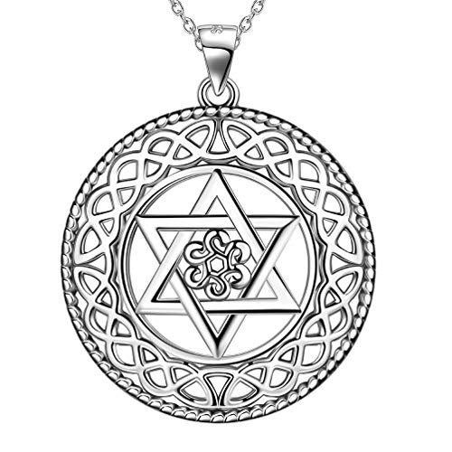 Magen David Star Round Celtic Knot Necklace 925 Sterling Silver Infinity Knot Star of David Round Pendant Women Men Unisex Faith Jewelry FP0106W