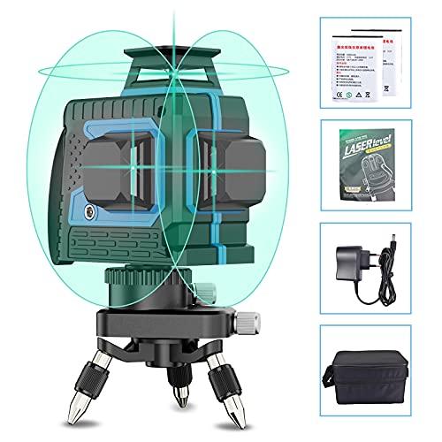 Nivel Laser Autonivelante Profesional, Depmog 12 líneas 25m láser de línea Línea vertical y horizontal autonivelante 3D IP54 Impermeable con 2 baterías Láser 3X 360 ° Linee Raggi