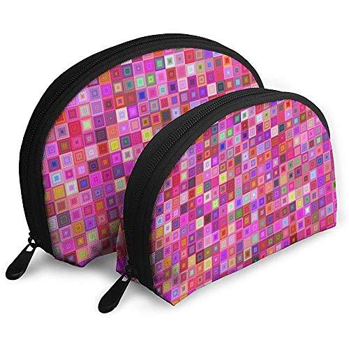 Rosa Matrix-Zusammenfassungs-Farbtragbarer Taschen-Make-upbeutel-Kulturbeutel, tragbarer Multifunktionsreisebeutel-Kleiner Make-upkupplungs-Beutel mit Reißverschluss