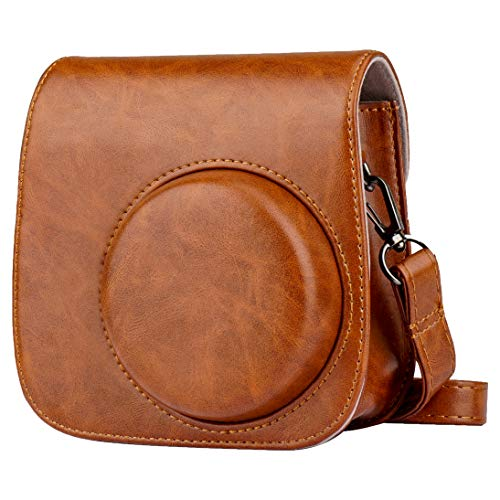 Blummy PU Leather Camera Case Compatible with Fujifilm Instax Mini 11/ Mini 9/ Mini 8 Instant Camera with Adjustable Strap and Pocket (Brown)