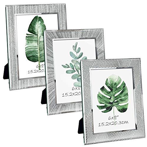 Giftgarden Marco de Fotos 15x20 de Vidrio, Portafotos Multiples de Cristal para la Mesa, con Diseño Original y Moderno del Borde, Set de 3
