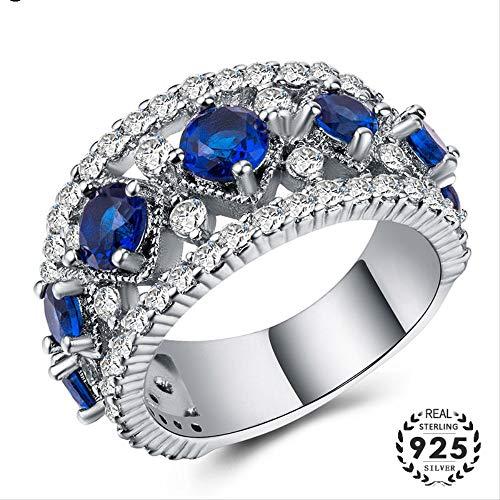 IWINO 925 zilveren ring met saffier zirkoon edelstenen geometrische vorm kostuum juwelen voor vrouwen huwelijksfeest cadeau