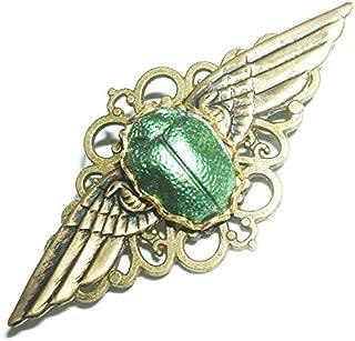 EGYPTIAN REVIVAL SCARAB Brooch Pin Metallic Green Winged Beetle Art Deco Gold Plt