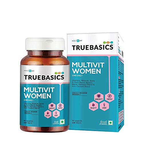 TrueBasics Multivit Women, Multivitamin for Women, With Zinc, Vitamin C, Vitamin D3 and Multiminerals, Antioxidant, Immunity and Beauty Blend, Clinically Researched Ingredients, 90 Multivitamin Tablets