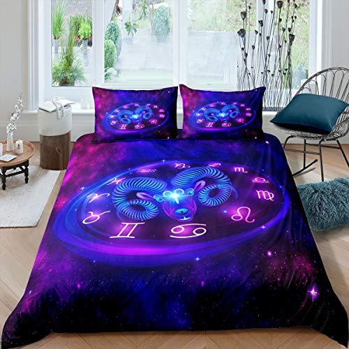 Loussiesd Constellation Juego de funda de edredón Aries Galaxy Universe Starry Sky Juego de funda de edredón Space Galaxy Astronomy para niños y adultos, 3 piezas, tamaño doble, cremallera