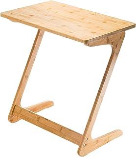 ソファ サイドテーブル リビング パソコンテーブル 竹製 Z字型が使い勝手の良い おしゃれ 人気 コンパクト 勉強台 食卓 ベッドサイド 物置台 ipadデーブル(ナチュラル/ 幅60×奥行40×高さ65cm)