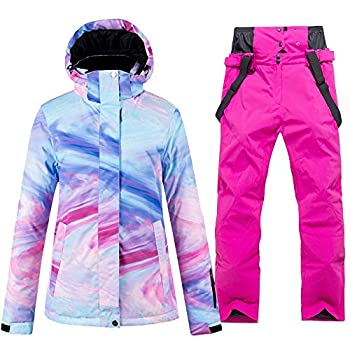GS SNOWING Women s Winter Jacket Colorful Snowboard Jacket and Pant Suit Color1+Pink 2XL