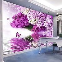 カスタム任意のサイズの紫色の花蝶3 D写真壁紙壁画モダンなリビングルームのソファテレビの背景-350x250cm