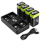 9V Rechargeable Battery Charger Pack, LP 4-Pack 600mAh 9 Volt Li-ion Batteries & 4-Bay Battery Charger for Alarms, Wireless Microphones, Smoke Detectors, Toys, Flashlights, Guitar, Keyboard & More