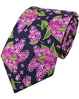 Men's 100% Cotton Hydrangea Floral Flowers Printed Self Tie Necktie