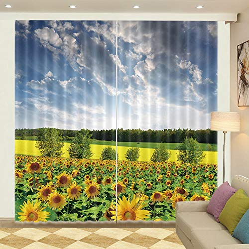 Nonebranded Blackout Window Curtains Thermal Draperies For Room - Sunflower Flower Skyh166 X W150 Cm
