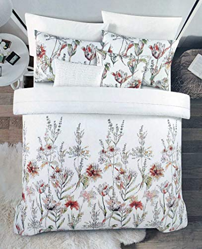 Cynthia Rowley New York 3 Piece Duvet Cover Set Wildflower Floral Pattern in Red Pink Yellow Taupe on White Comforter Quilt Cover Bedding 100% Cotton Luxury, Full/Queen