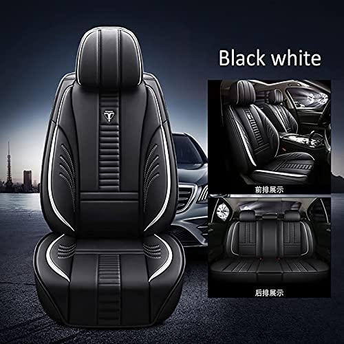 Asiento y reposacabezas de automóviles cubiertas de asiento delantero y trasero del coche Airbag compatible Lavable para Opel Astra H Astra J Astra G Insignia Zafira B Astra Corsa-Black white