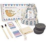 Ecoloutre® – Mon Kit Zéro Déchet   Salle de Bain (brosse à dents en bois bambou, disque coton démaquillant lavable, nettoyant cure oreille, coffret réutilisable & écologique)
