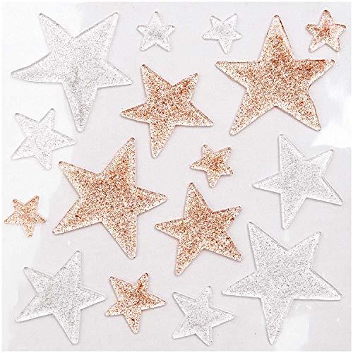 RICO DESIGN GmbH & Co. KG Gelsticker Sterne transparent mit Glitter in Silber und Gold 16 Sticker