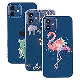 shumeifang [3 Pack] Compatible con iPhone 12 6.1' Caso, Ultra Thin Soft Gel TPU Funda de Silicona con Dibujos Animados Lindos para Apple iPhone 12 - Cocodrilo y Elefante Flores y Flamenco