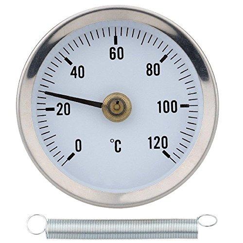Thermomètre 0-120° avec ressort, avec clip pour montage sur tuyau, surface bimétallique en acier inoxydable - 63MM