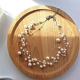 Pendientes de perlas para Mujer en todo el Cielo pendientes de perlas de Estrella Solo hermosos pendientes de borla de línea transparente de temperamento Suave - (Color Metal: Necklace)