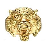 BOBIJOO JEWELRY - Anillo De Sello del Tigre De La Cabeza De Oro De Acero Inoxidable 316, Acabado En Oro Hombre - 29 (13 US), Dorado - Acero Inoxidable 316