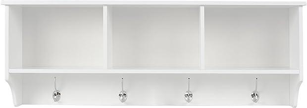 Homfa Estantería Colgante Estantería de Pared para baño Dormitorio y Cocina Estantería Cubos de Pared Blanco 3 Compartimentos y 8 Ganchos 98x20x35cm