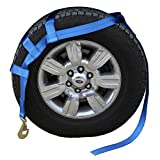 US Cargo Control Extra Large Tow Dolly Basket Strap - Blue Car Dolly Strap with Twisted Snap Hook End Fittings - for Wheel Sizes 17 Inches Or Larger - 3,333 Pound Working Load Limit