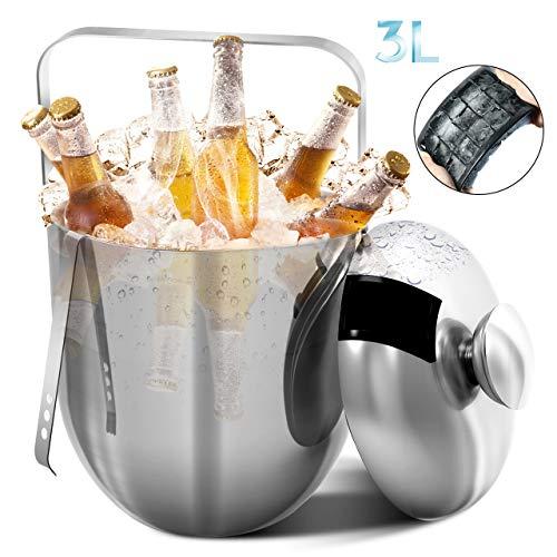 RATEL Eiskübel, Edelstahl Eiseimer Eisbehälter einschließlich Zangen, Deckel, 15 Gitter Eiswürfelschale und Tragegriff - 3L