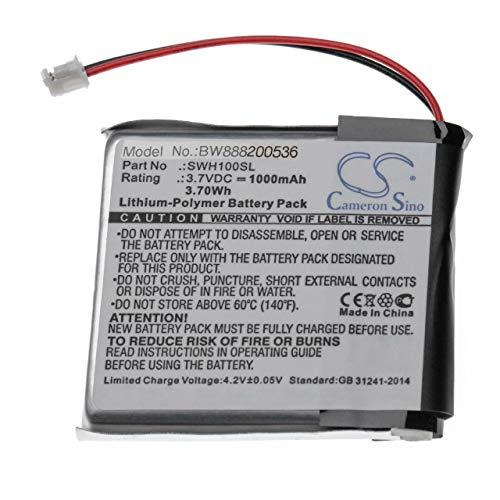 vhbw Batería Recargable reemplaza Sony SP 624038 para Auriculares inalámbricos, Cascos (1000 mAh, 3,7 V, polímero de Litio)