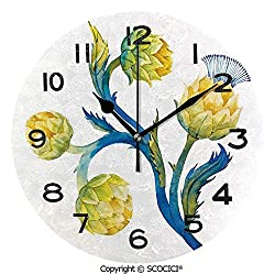 SCOCICI 10 inch Round Clock Floral Bouquet Artichokes Botanical Abstract Vivid Colored Artwork Decorative Unique Wall Clock-for Living Room, Bedroom or Kitchen Use