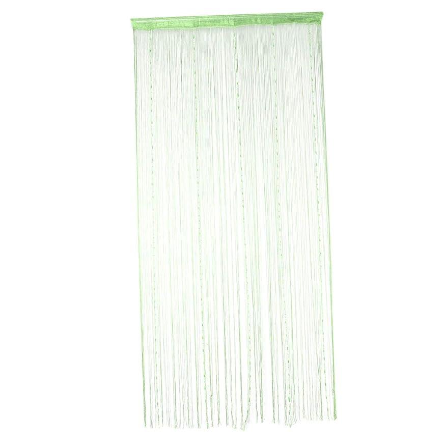 先見の明中断十分ですFenteer 紐のれん ストリングカーテン パネル インテリア 目隠し 約100×200cm - グリーン