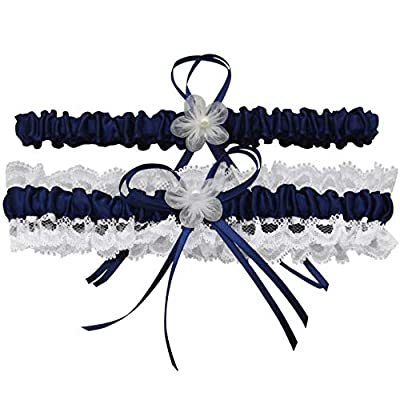 Ayliss Wedding Garter for Bride Stretch Prom Garters Bridal Leg Garter Set (Navy Blue)