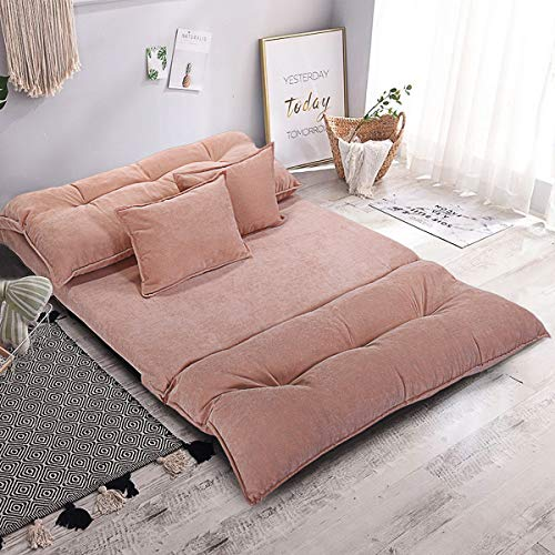 Adjustable Floor Sofa Bed Corduroy Leisure Bed, Folding Floor Couch Lounge Lazy Sofa with 5-Position, Floor Video Gaming Sleeper Sofa Bed with 2 Pillows, Beige