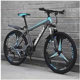 AYHa Bicicletas 24 pulgadas de montaña, para hombre de las mujeres de acero al carbono de bicicletas, 30 velocidad Tren de transmisión Todo Terreno de la bici de montaña con doble freno de disco, 21V