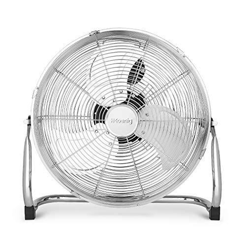 Ventilateur de sol H.Koenig JOE30 Silencieux, Design métal chromé, 40 cm, Haute vitesse, Résistant, 3 vitesses de ventilation, Tête inclinable, Maison/Bureau/Garage, Pieds antidérapants, Puissant 100W