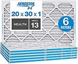 Aerostar 20x30x1 MERV 13 Pleated Air Filter, AC Furnace Air Filter, Captures Virus Particles, 6-Pack (Actual Size: 19 3/4