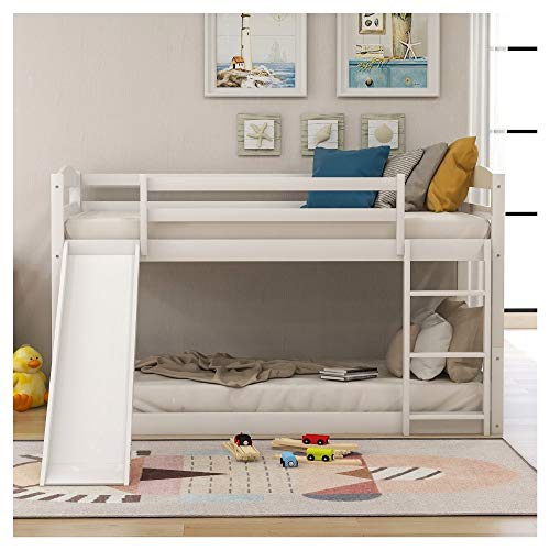 Twin Over Twin Low Bunk Bed with Slide and Ladder Upper Bed 42.1 Inches × 81.7 Inches Down Bed 42.1 Inches × 81.7 Inches Height 46.7 Inches Very Suitable for Little Small Boys and Small Girls