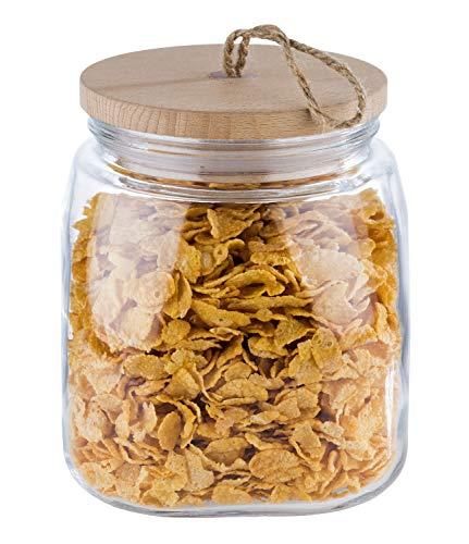 """APS Vorratsglas """"Woody"""" – Hochwertiges Glasbehältnis mit Deckel aus Holz – Durch die Silikondichtung bleibt das Aroma des Inhaltes länger vorhanden – 2 Liter, Aufbewahrungsbehälter"""