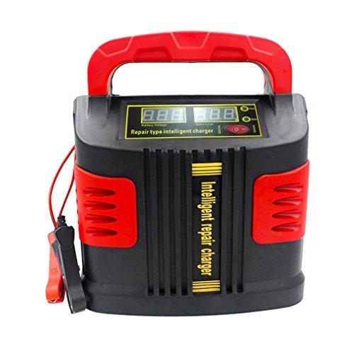 YLWL Cargador Inteligente portátil Cargador de vehículo de Motor automático 350W 14A Ajuste automático Cargador de batería LCD Car Jump Starter Booster (Rojo y Negro)