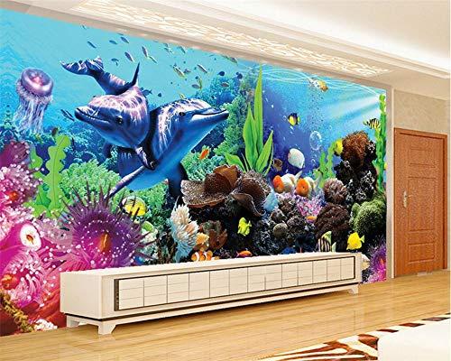 NIdezuiai Murals, Onderwater Wereld Aquarium Animal Serie Aanpassen 3D Wallpaper Muurdecoratie Art Hd Print Poster Beeld Grote Zijde Muren Voor Kinderkamer Kleuterschool Game Room Gedecoreerd 290cm(H)×480cm(W) Zoals getoond