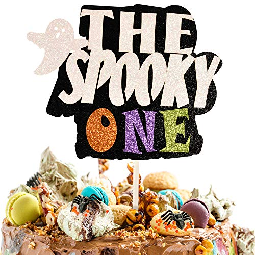 1st Birthday Cake Topper,Glitterly Colourful THE SPOOKY ONE Cake Topper with Ghosts for Boy Baby Shower Halloween Scary Theme Party Decor Supplies, First Birthday Cake Topper, One Year old Birthday Party Decoration Halloween Theme Party Decorations Supplies